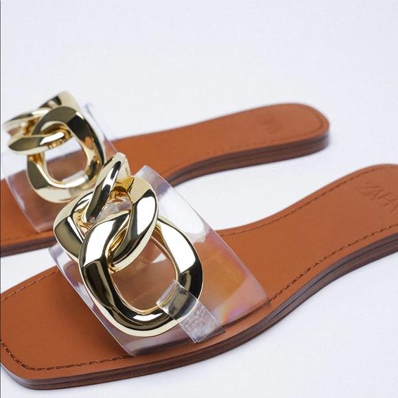 Gold Buckle Zara Flat Sandals